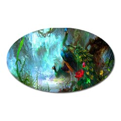 Beautiful Peacock Colorful Oval Magnet by Simbadda