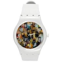 Fabric Weave Round Plastic Sport Watch (m) by Simbadda