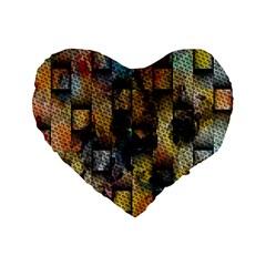 Fabric Weave Standard 16  Premium Flano Heart Shape Cushions by Simbadda