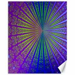 Blue Fractal That Looks Like A Starburst Canvas 11  X 14   by Simbadda