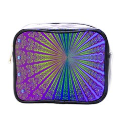 Blue Fractal That Looks Like A Starburst Mini Toiletries Bags by Simbadda