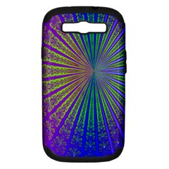 Blue Fractal That Looks Like A Starburst Samsung Galaxy S Iii Hardshell Case (pc+silicone) by Simbadda
