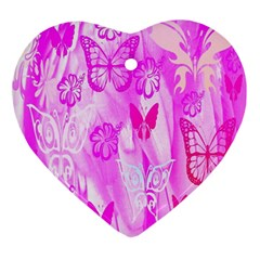 Butterfly Cut Out Pattern Colorful Colors Ornament (heart) by Simbadda