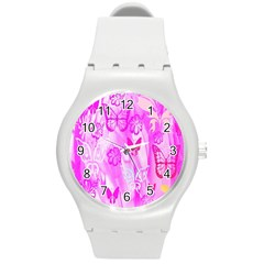 Butterfly Cut Out Pattern Colorful Colors Round Plastic Sport Watch (m) by Simbadda