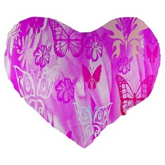 Butterfly Cut Out Pattern Colorful Colors Large 19  Premium Flano Heart Shape Cushions by Simbadda