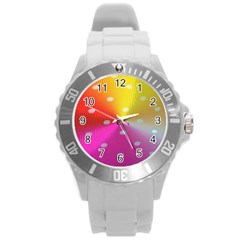 Polka Dots Pattern Colorful Colors Round Plastic Sport Watch (l) by Simbadda