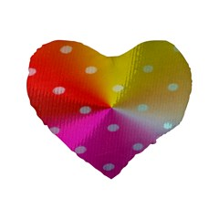 Polka Dots Pattern Colorful Colors Standard 16  Premium Flano Heart Shape Cushions by Simbadda