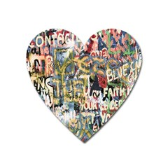 Graffiti Wall Pattern Background Heart Magnet by Simbadda