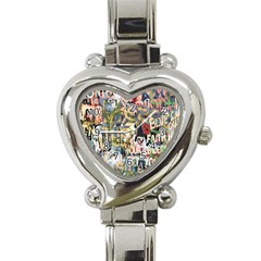 Graffiti Wall Pattern Background Heart Italian Charm Watch by Simbadda