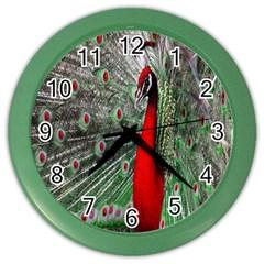 Red Peacock Color Wall Clocks by Simbadda