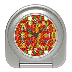 Abstract Background Design With Doodle Hearts Travel Alarm Clocks by Simbadda