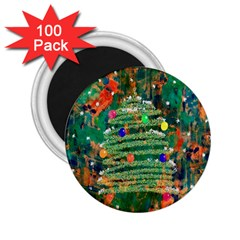 Watercolour Christmas Tree Painting 2 25  Magnets (100 Pack)  by Simbadda