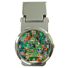 Watercolour Christmas Tree Painting Money Clip Watches by Simbadda
