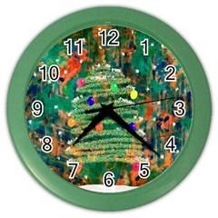 Watercolour Christmas Tree Painting Color Wall Clocks by Simbadda