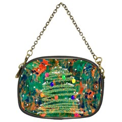 Watercolour Christmas Tree Painting Chain Purses (one Side)