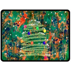 Watercolour Christmas Tree Painting Fleece Blanket (large)  by Simbadda
