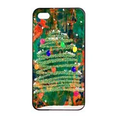 Watercolour Christmas Tree Painting Apple Iphone 4/4s Seamless Case (black) by Simbadda