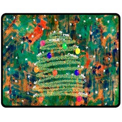 Watercolour Christmas Tree Painting Double Sided Fleece Blanket (medium)  by Simbadda