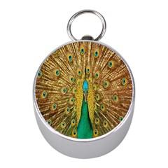 Peacock Bird Feathers Mini Silver Compasses by Simbadda