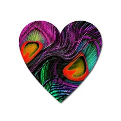 Peacock Feather Rainbow Heart Magnet by Simbadda