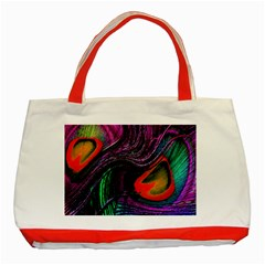 Peacock Feather Rainbow Classic Tote Bag (red) by Simbadda