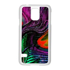Peacock Feather Rainbow Samsung Galaxy S5 Case (white) by Simbadda