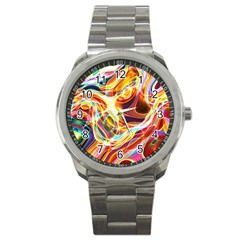 Colourful Abstract Background Design Sport Metal Watch by Simbadda