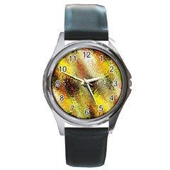 Multi Colored Seamless Abstract Background Round Metal Watch by Simbadda