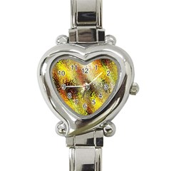 Multi Colored Seamless Abstract Background Heart Italian Charm Watch by Simbadda