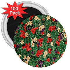 Berries And Leaves 3  Magnets (100 Pack) by Simbadda