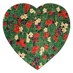 Berries And Leaves Jigsaw Puzzle (heart) by Simbadda