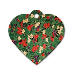 Berries And Leaves Dog Tag Heart (one Side)