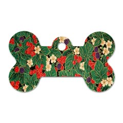 Berries And Leaves Dog Tag Bone (one Side) by Simbadda