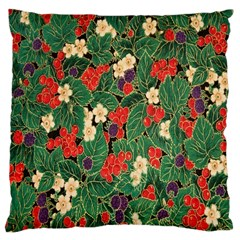 Berries And Leaves Large Cushion Case (two Sides) by Simbadda