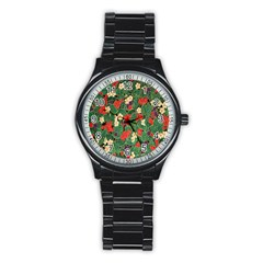 Berries And Leaves Stainless Steel Round Watch by Simbadda