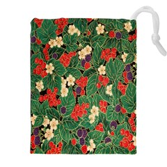 Berries And Leaves Drawstring Pouches (xxl) by Simbadda