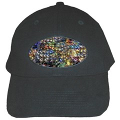 Multi Color Peacock Feathers Black Cap by Simbadda