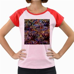 Multi Color Peacock Feathers Women s Cap Sleeve T Shirt