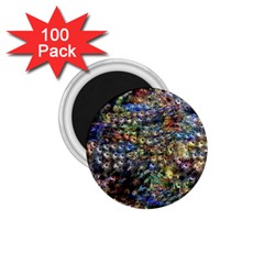 Multi Color Peacock Feathers 1 75  Magnets (100 Pack)  by Simbadda