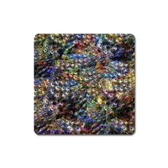 Multi Color Peacock Feathers Square Magnet by Simbadda