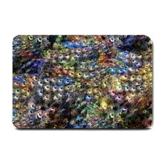 Multi Color Peacock Feathers Small Doormat  by Simbadda
