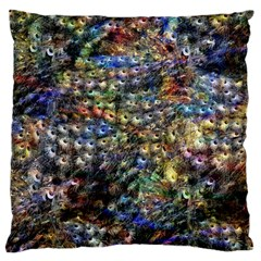 Multi Color Peacock Feathers Large Cushion Case (two Sides) by Simbadda