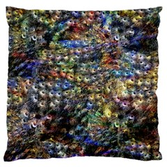 Multi Color Peacock Feathers Standard Flano Cushion Case (One Side)