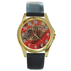 Red Gold Black Background Round Gold Metal Watch by Simbadda