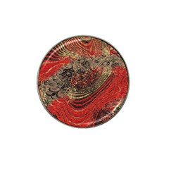 Red Gold Black Background Hat Clip Ball Marker by Simbadda