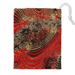 Red Gold Black Background Drawstring Pouches (xxl) by Simbadda