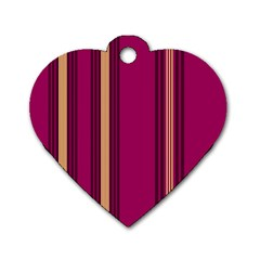 Stripes Background Wallpaper In Purple Maroon And Gold Dog Tag Heart (one Side) by Simbadda