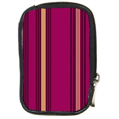 Stripes Background Wallpaper In Purple Maroon And Gold Compact Camera Cases by Simbadda
