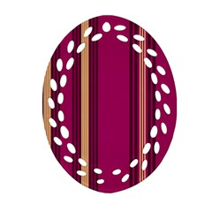 Stripes Background Wallpaper In Purple Maroon And Gold Oval Filigree Ornament (two Sides) by Simbadda