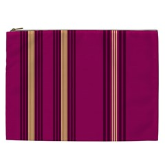 Stripes Background Wallpaper In Purple Maroon And Gold Cosmetic Bag (xxl)  by Simbadda